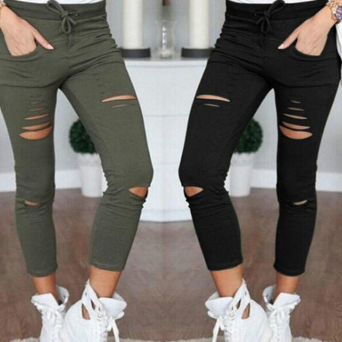 New 2019 Skinny Jeans Women Denim Pants Holes Destroyed Knee Pencil Pants Casual Trousers Black White Stretch Ripped Jeans - Joelinks store