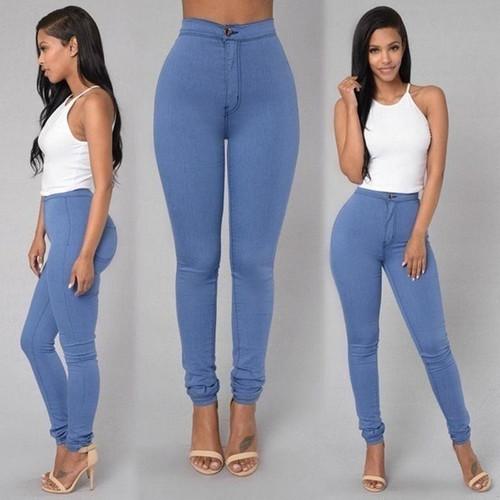 Solid Wash Skinny Jeans Woman fashion new winter Denim Pants Plus Size Push Up Trousers Bodycon warm Pencil Pants Female ** - Joelinks store
