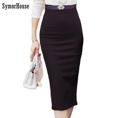 2019 Pencil Skirt Women Bodycon Fashion High waist elastic Office  Skirt Red Black Slit Women's Midi Skirts - Joelinks store
