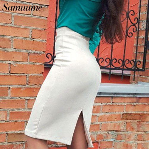Samuume Elegant Solid Suede Midi Skirt Women 2019 Stretch High Waist Autumn Office Bodycon Pencil Bandage Skirts Saias A1609022 - Joelinks store