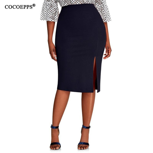 COCOEPPS 2019 Fashion New Brief High Waist Skirt  bodycon Pencil Skirt Women blue Sexy Slim Elegant Work - Joelinks store