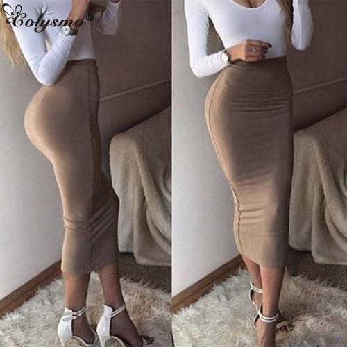 Colysmo Double Layers High Waist Pencil Midi Skirt Bodycon Long Skirt Cotton Maxi Skirt White Summer Skirts Womens Saia Midi New - Joelinks store