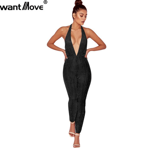 Wantmove 2019 summer fashion jumpsuits women rompers gold lipex semi sheer bodycon skinny sexy club - Joelinks store