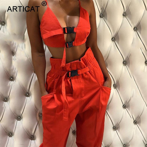Articat 2019 Autumn Bodycon Rompers Womens Jumpsuit Two Piece Set Sexy Hollow Out Crop Top Casual Club Party Jumpsuits Overalls - Joelinks store
