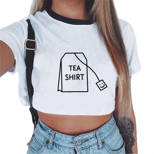 White Sexy Crop Top Women Sexy Harajuku Streetwear Tank Tops Tees Transparent Print Clothes Short Sleeve Solid Femme Summer - Joelinks store