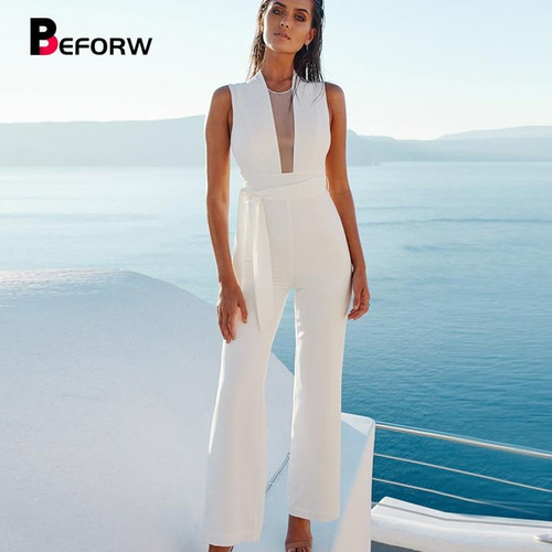 BEFORW 2019 Women Sexy Sleeveless V Neck Lace Up Wide Leg Long Jumpsuit Overalls Body suit White Causal Rompers macacao feminino - Joelinks store