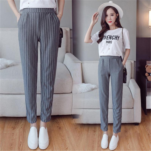 Vertical Striped Harem Pants Trousers  New Spring Summer Loose Casual Elastic Waist Pants Ankle-Length Pants 2019 - Joelinks store