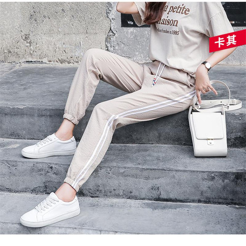 2018 Summer Women Ankle Length Leisure Pants Bottoms Female Side Striped Pants Sweatpants Sportswear Harem Pants Loose Trousers - Joelinks store