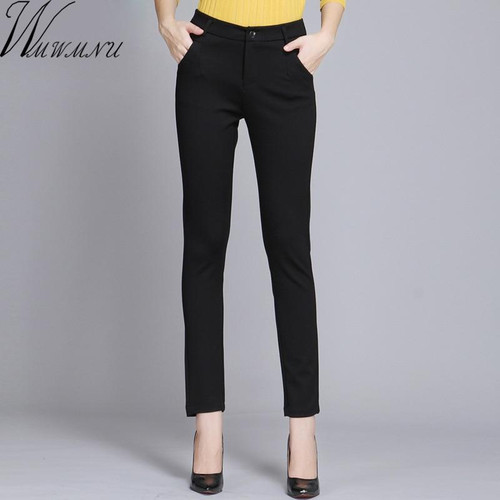 Women Trousers Work Wear casual Spring Black pencil Pants Plus Size 4XL Female Slim Pants Elastic Pantalones Mujer - Joelinks store
