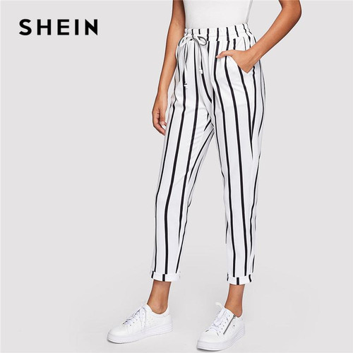 SHEIN Black and White Casual Drawstring Waist Striped High Waist Tapered  Trousers - Joelinks store