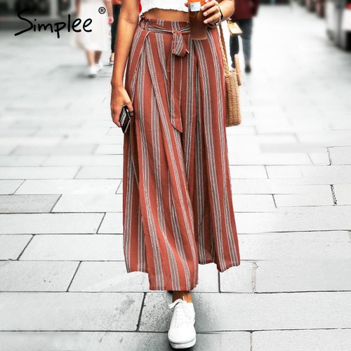 Simplee Split striped lady wide leg pants women Summer beach high waist trousers Chic streetwear sash casual pants capris female - Joelinks store