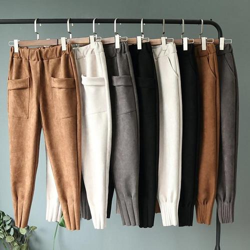 2019 Streetwear Women Pants Elastic High Waist Pockets Suede Harem Pants Casual Autumn Plus Size Trousers Women pantalones mujer - Joelinks store