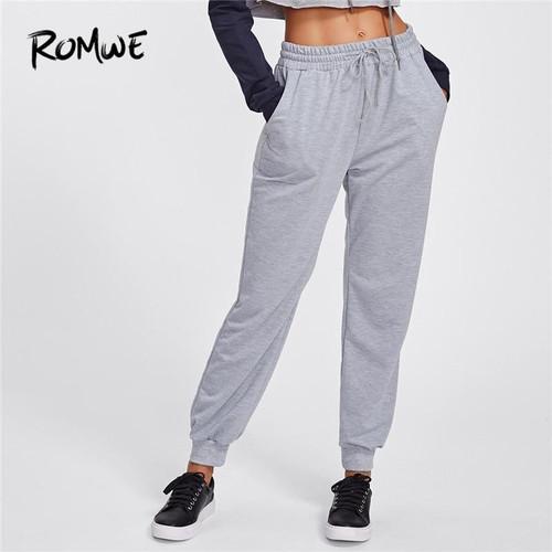 ROMWE Pants Women Drawstring Marled Sweatpants Grey Casual Mid Waist Womens Fall Trousers 2019 Joggers Women Clothes Long Pants - Joelinks store