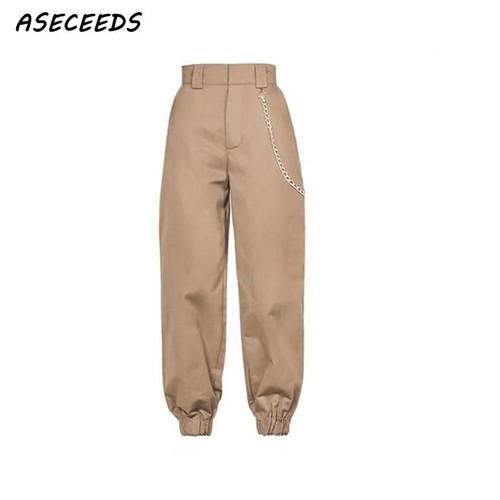 Spring 2019 fashion woman camo pants women  camouflage sweatpants streetwear cargo high waist pants loose trousers joggers women - Joelinks store