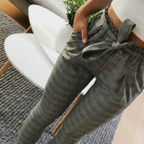 New Plaid High Waist Harem Pants Women Summer Style Ankle-length Pants Female Office Lady White Striped Trousers - Joelinks store