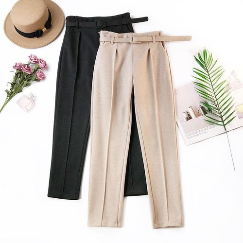 Elegant Sashes Women's Pants 2019 Autumn Winter Solid High Waist Pockets Harem Pants Harajuku Fitness Office Lady Trousers Femme - Joelinks store