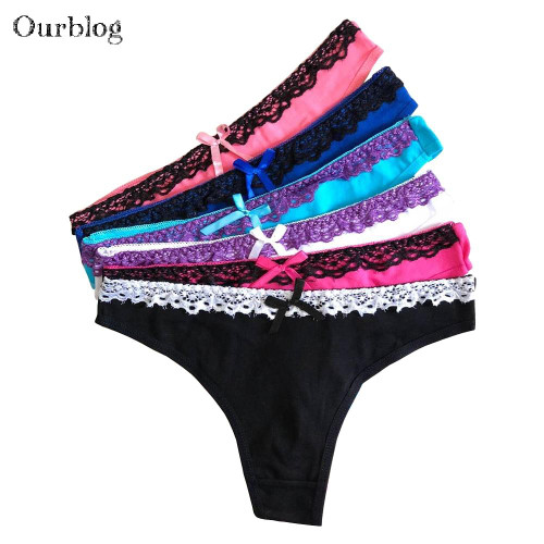 OURBLOG  5 PCS Women's Cotton Panties Girl Briefs Sexy Fashion Sexy Thong Underwear T Word Pants G String Underwear Wholesale - Joelinks store