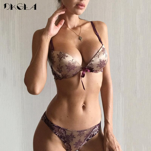 Luxury Printing Underwear Set Women Bow Fashion Red Push Up Bra Panties Sets Sexy Lingerie Embroidery Lace Bra Set Cotton Thick - Joelinks store