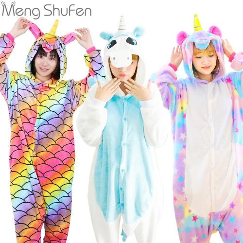 Pink Unicorn Pajamas Sets Flannel Animal Pajamas Winter Nightie Stitch unicornio Sleepwear for Women Men Adults - Joelinks store