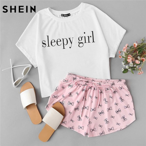 SHEIN Summer Two Piece Set Sleepwear Multicolor Short Sleeve Graphic Letter Print Top and Drawstring Shorts Pajama Sets - Joelinks store