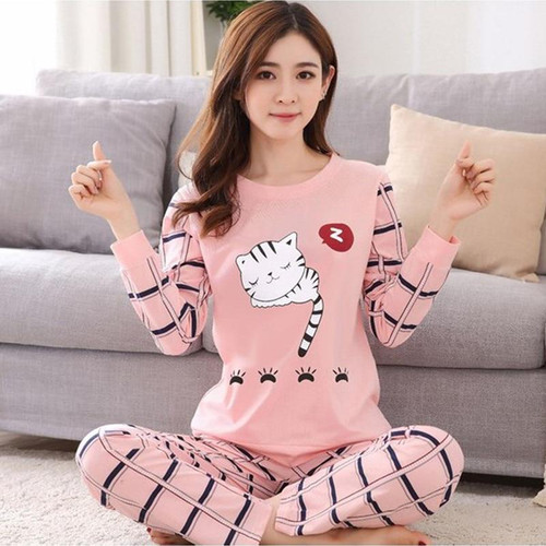 2019 new Women pajamas set autumn ladies cute sleepwear woman's long sleeved household clothing set free shipping - Joelinks store