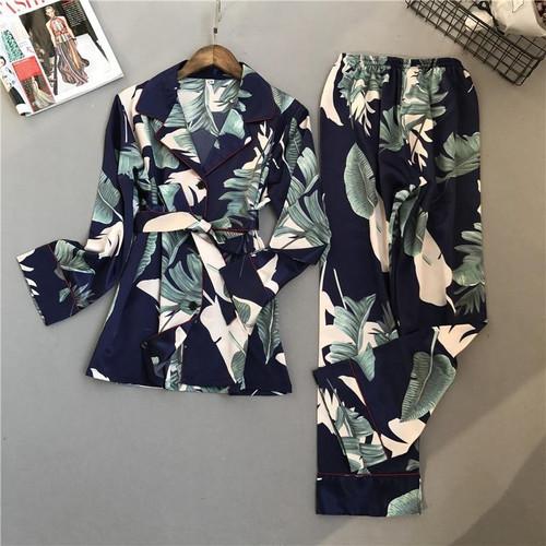 Lisacmvpnel Spring Printing Pattern Women Pajama Set Rayon Sleepwear Long Sleeve Trousers Two Paper Suit - Joelinks store