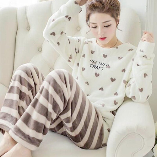 Coral Velvet Winter Women Pajama Sets Female Flannel Round Neck Cute Cartoon Camel White Letter Home Service Winter Warm Suit - Joelinks store