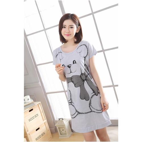 2018 Women Cotton Sleeping Nightgrown Shirt Short Sleeve Summer Sleepwear Nightwear Kigurumi Shirt Home Clothing Cartoon Bear - Joelinks store