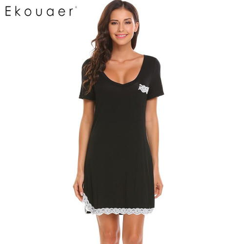 Ekouaer Nightgown Nightwear Women V-Neck Short Sleeve Lace Trim Casual Nightdress Sleep Dress Summer Loose Chemise Sleepwear XXL - Joelinks store
