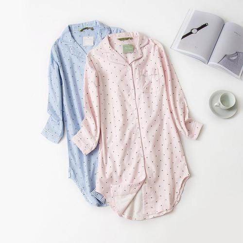 Autumn Stripe Polka Dot Sexy Women Sleepshirts 100% Brushed Cotton Fresh Simple Nightgowns Women Sleepwear Nightdress Nightwear - Joelinks store