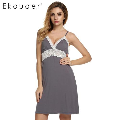 Ekouaer Brand Spring Autumn Nightgown Women Sexy Spaghetti Strap Lace Patchwork Lingerie Dress Sleepwear Sleepshirts Size S-XL - Joelinks store