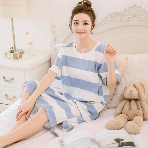 2019 New Arrival women nightgowns Blue Chinese Women Cotton Nightdress Summer Short Sleeve Sleepwear Floral Home Dress Robe Gown - Joelinks store