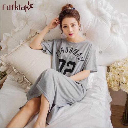 Plus size women nightgowns letter print cotton nightdress summer long dress short sleeve ladies sleepwear sleepshirt M-3XL - Joelinks store