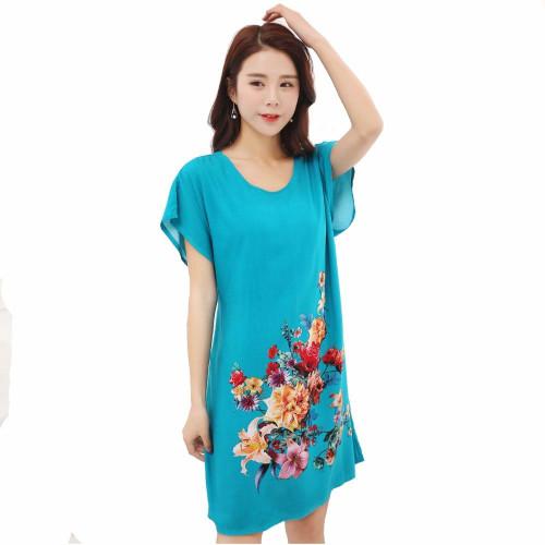 Lady Blue Cotton Soft Nightgowns Sleepwear Chinese Style Print Women's Nightdress Flowers Night Dress Home Wear One Size SG051 - Joelinks store
