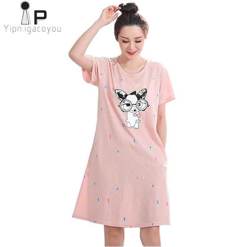 Cartoon Night Dress Women Sleepwear Plus size 5XL Ladies Nightwear kawaii Women Nightgown Homewear New Summer Home Dress Nightie - Joelinks store