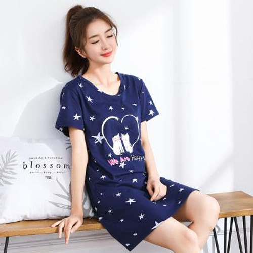 2019 Spring Autumn 100% Cotton Women Nightgown Female Cute Cat Sleepwear Pregnant Lady Sleepshirt & Casual Home Clothes - Joelinks store