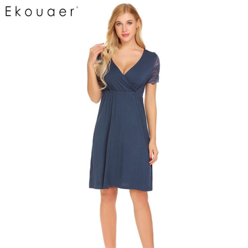 Ekouaer Women Nursing Sleepwear Lace Short Sleeve Nightgown Faux Wrap V-Neck Nightdress Nightwear Female Home Clothes - Joelinks store