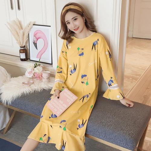 New Listing 2019 Autumn Winter Women's Long Cartoon Pijamas Home Cloth Nightshirt Women Causal Sleepwear Cotton Ladies Nightgown - Joelinks store