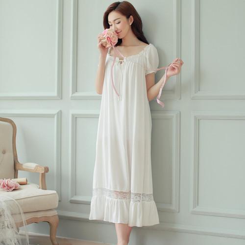 Night dress long white nightgown Women Nightgowns Cotton Short Sleeve sexy nightwear vestido vintage sleepwear pijama nightdress - Joelinks store