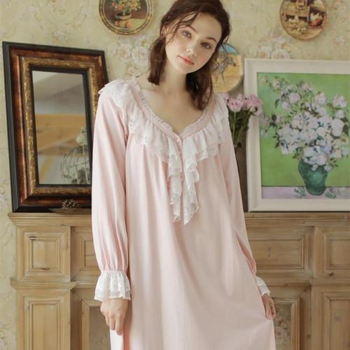 Nightgown Women Cotton Vintage Night Dress Pink Sleepwear Long Long Sleeve Dress Homewear Goddess Nightdress V Neck - Joelinks store