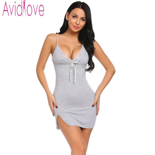 Avidlove Sexy Cotton Nightgown Women Sleeveless Strap Nightwear Sleepwear Female Lounge Wear Night Dress Home Sleepshirt Nighty - Joelinks store