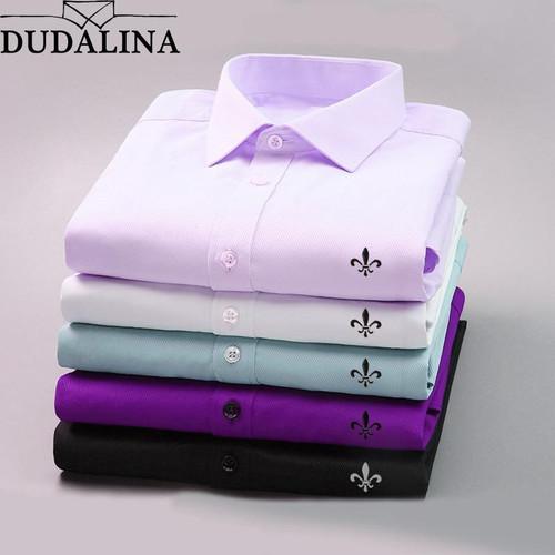 DUDALINA 2019 Men Casual Long Sleeved Solid shirt Slim Fit Male Social Business Dress Shirt Brand Men Clothing Soft Comfortable - Joelinks store