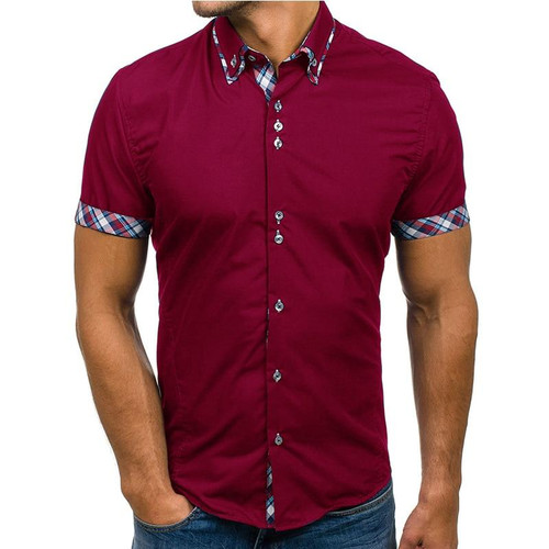 Wholesale Men Shirt 2019 Brand Fashion Casual Slim Short Sleeve Dress Shirt Cotton Plus Size Solid Color Top Clothes White Black - Joelinks store