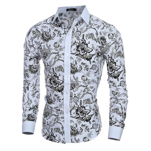 Male Floral Print Dress Shirts Mens Shirt Slim Fit Ethnic Flowers Long Sleeve Casual Cotton Fashion Spring Tops Men Shirts - Joelinks store