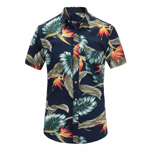 New Summer Mens Short Sleeve Beach Hawaiian Shirts Cotton Casual Floral Shirts Regular Plus Size 3XL Mens clothing Fashion - Joelinks store