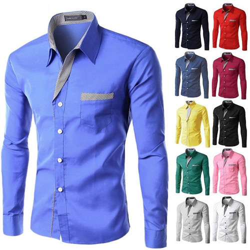 2019 New Fashion Brand Camisa Masculina Long Sleeve Shirt Men Korean Slim Design Formal Casual Male Dress Shirt Size M-4XL - Joelinks store