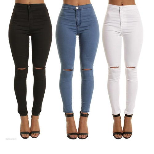 JRNNORV Black Colors High Waist Skinny Fashion Boyfriend Jeans for Women Hole Vintage Girls Slim Ripped Denim Pencil Pants 0146 - Joelinks store