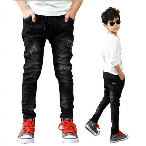 Boys pants spring autumn black jeans kids casual trousers boys jeans teenage trousers children casual pants 5-13 Y boys outwear - Joelinks store