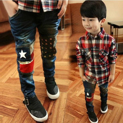 2019 Spring new fashion patchwork boys jeans high quality good material children jean age 3 4 5 6 7 8 9 10 11 12 years old  B022 - Joelinks store