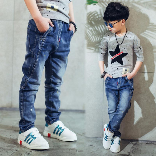 2019 children's clothing boys jeans spring and autumn splash-ink  children pants - Joelinks store